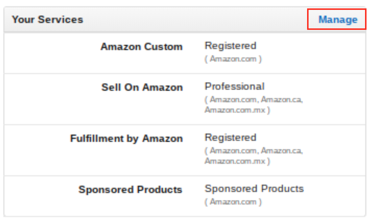 Amazon seller account manage settings