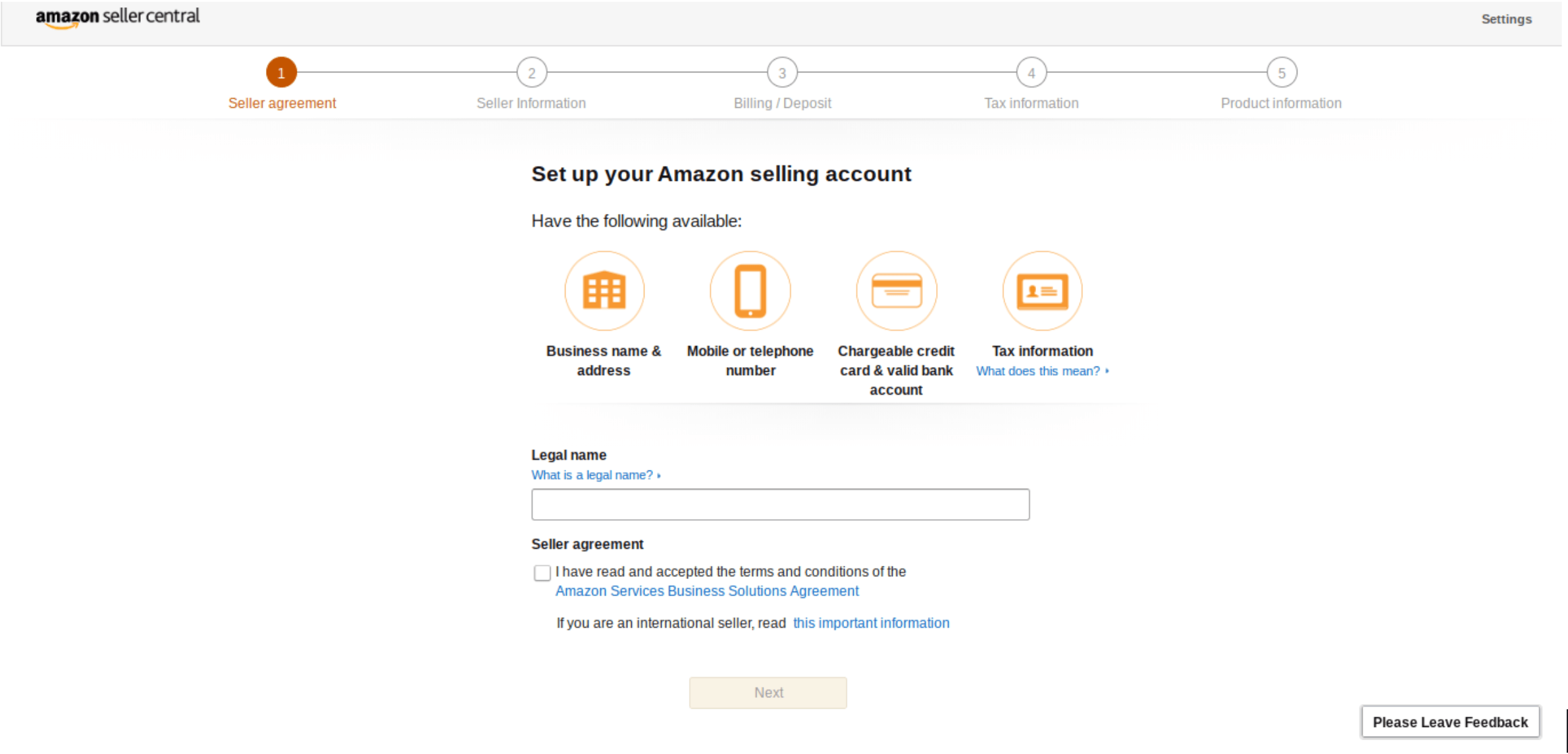 Opening new amazon seller account - seller agreement screen