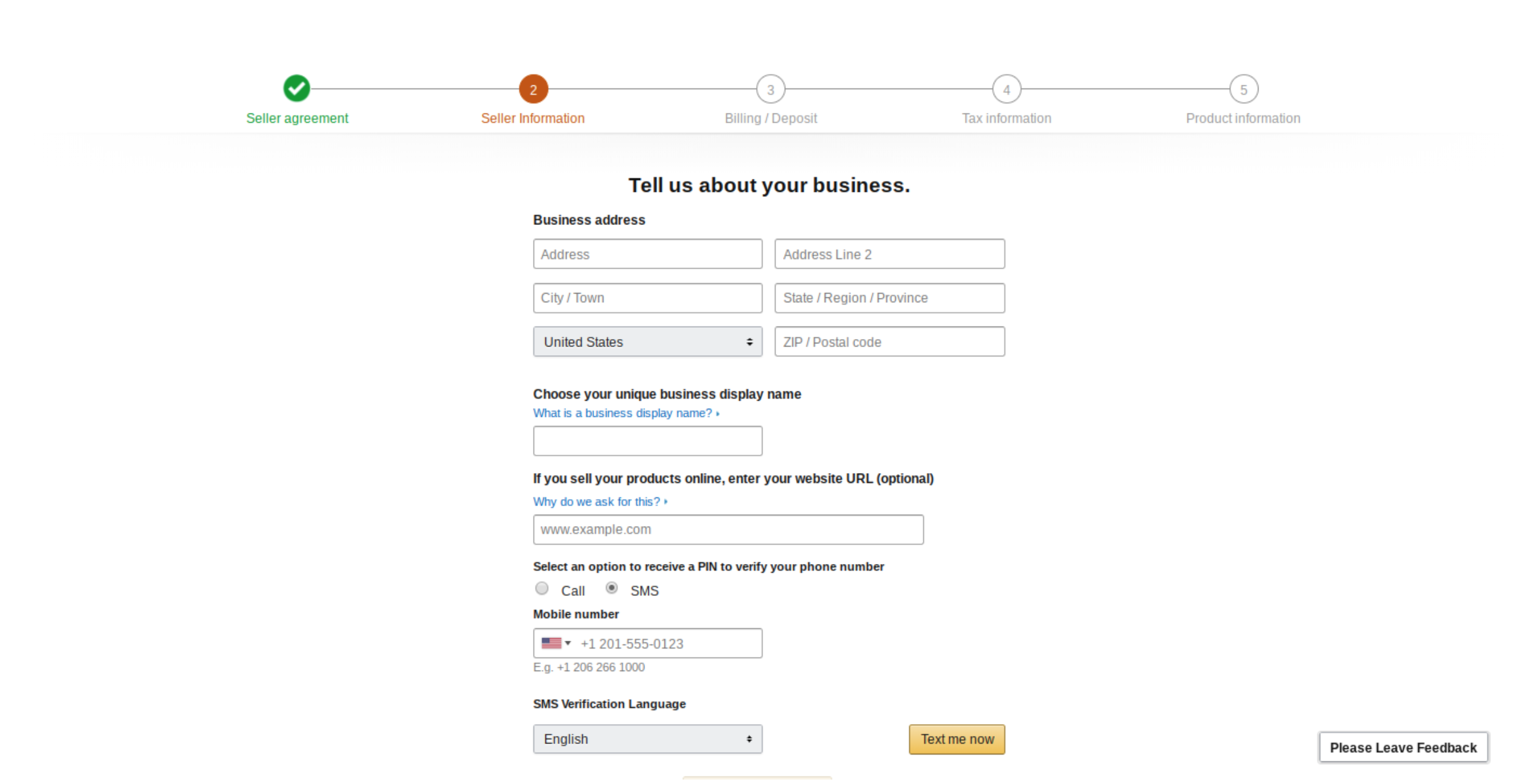Opening new amazon seller account - seller info step
