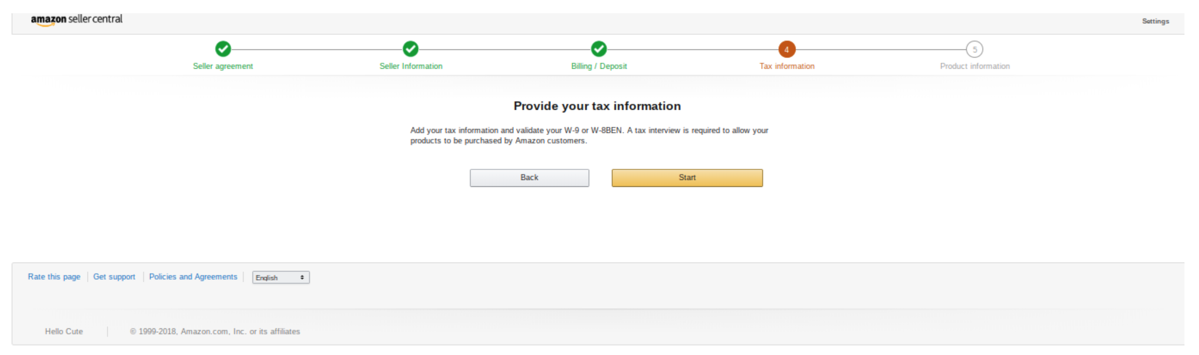 Opening new amazon seller account - tax information page